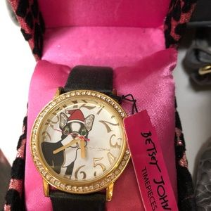 NWT Betsey Johnson Boston Terrier Watch